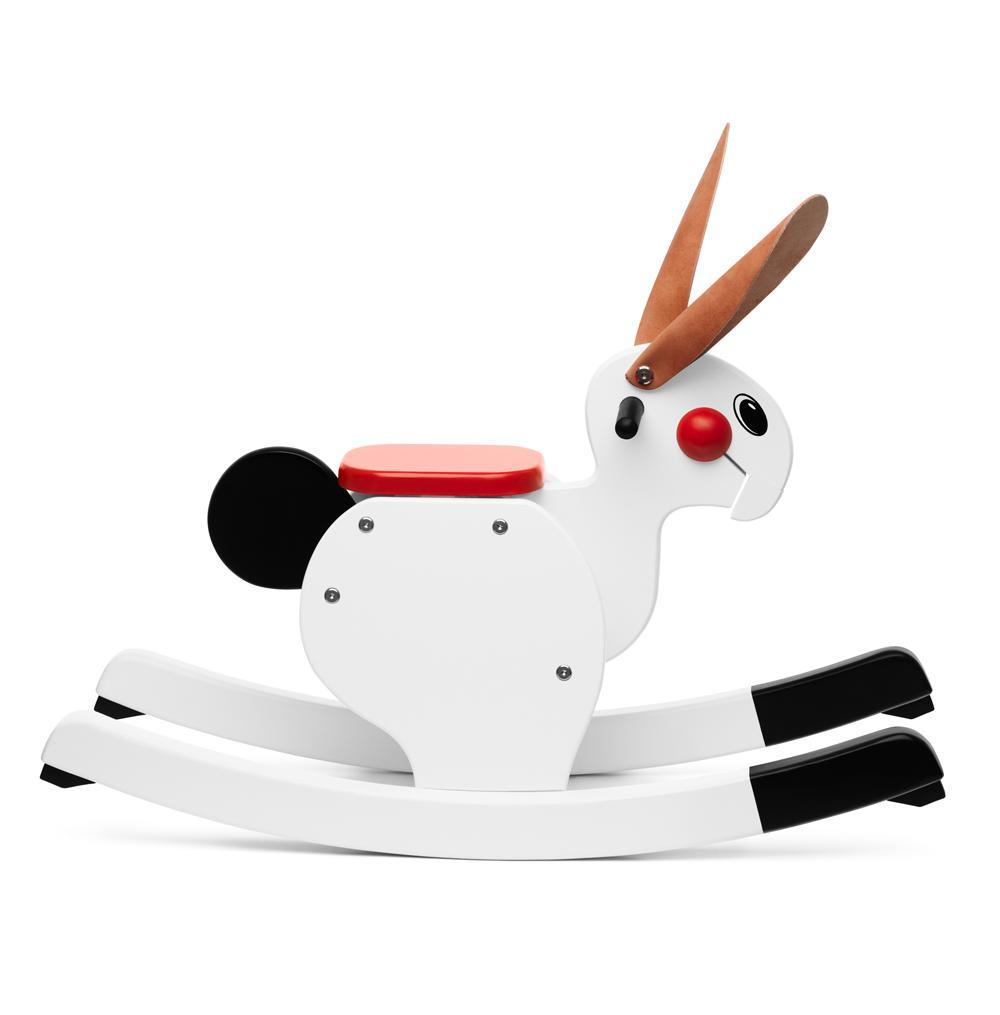 Lapin à bascule blanc Playsam